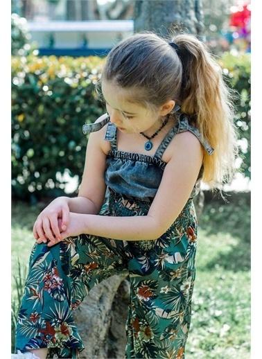 Hilal Akıncı Kids Kiz Çocuk Yaprak Desenlı Salaş Pantolon Kot Büstıyer Ikılı Takim Yeşil